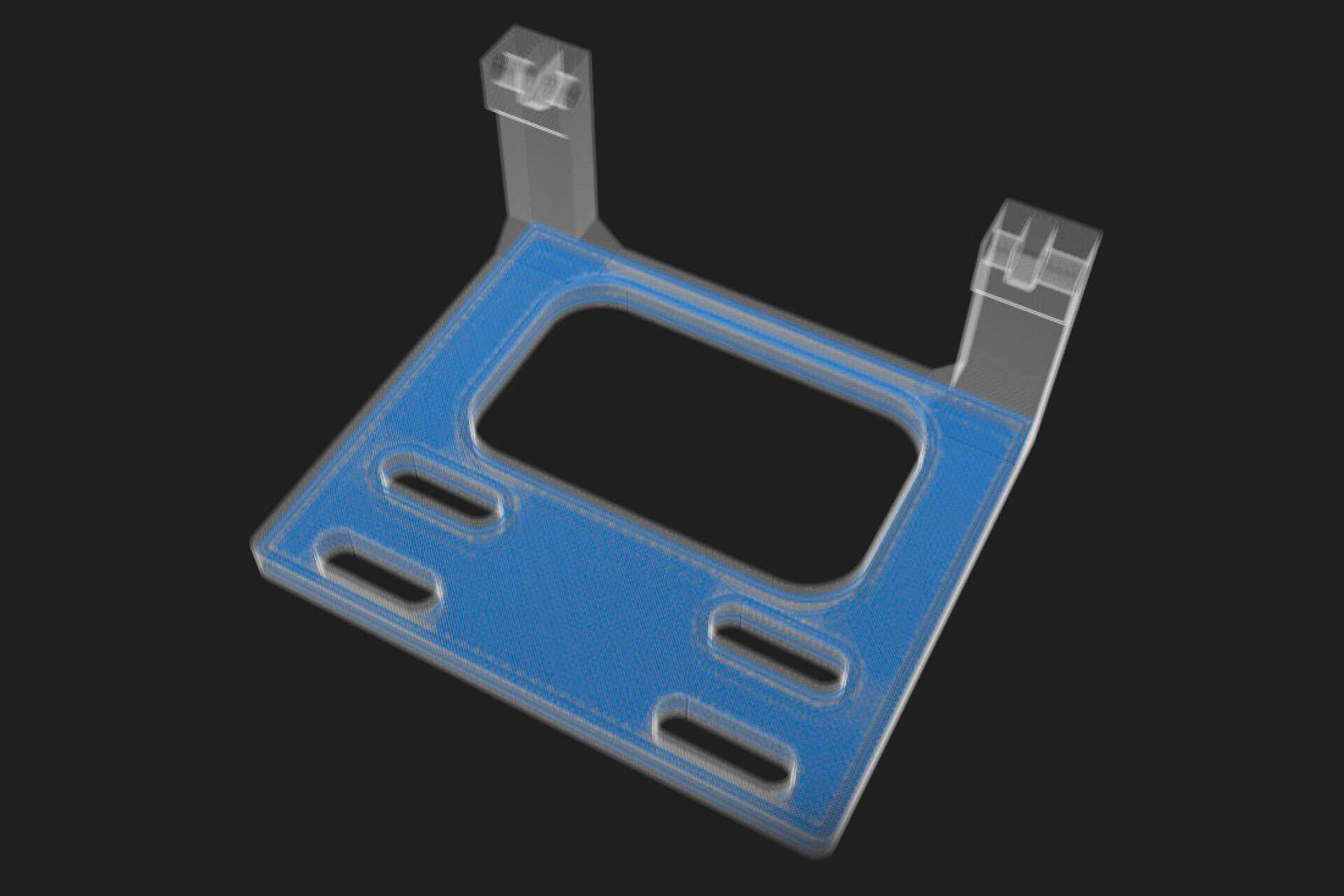 Die Vorlage für das Bauteil wird in einem CAD-Programm digital konstruiert und für die Herstellung im Drucker vorbereitet. Hier zum Beispiel mit ins Teil eingelegten Kohlefasern, blau markiert.